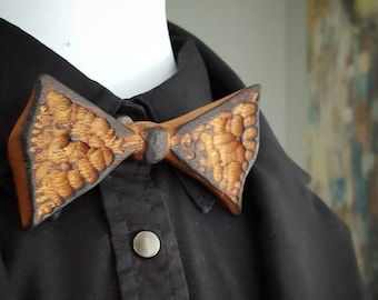 Etched & Torched Cherry Bow Tie