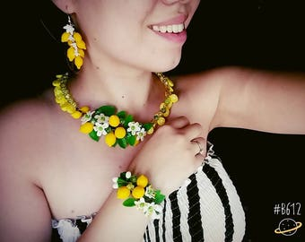 Lemon jewelery, lemon earring, lemon necklace, lemon bracelet, yellow earrings, yellow jewerly set, yellow bracelet, summer accessories