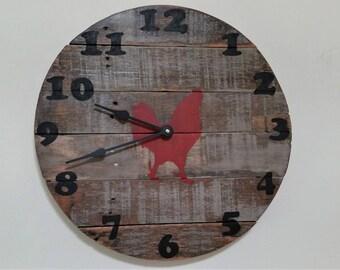 Reclaimed wood clock,rooster clock,barnwood,pallet wood,Vintage,Shabby chic,Rustic,Wall clock,Housewarming,farmhouse decor,Rustic