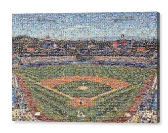 Unique LA Dodgers Mosaic Art UV Print of Dodger Stadium Made of over 375 Unique Dodger Great Player Trading Cards!