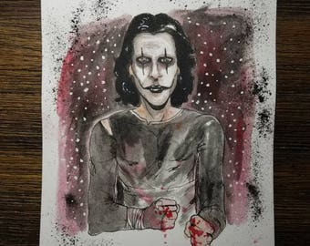 The Crow 6×9 original watercolor. One of a kind! FREE shipping!
