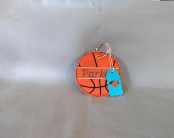 Kids personalized Basket Ball backpack zipper pull.