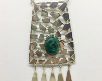 Sterling silver Eilat stone pendant modernist necklace.
