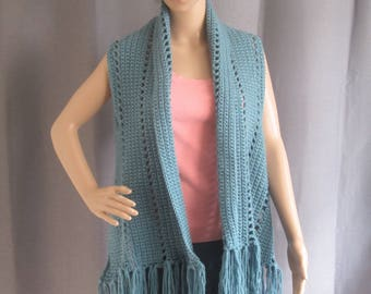 Combination Shawl and Shrug Crocheted in Dusty Blue