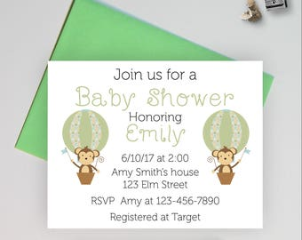 Baby shower invitations, gender neutral shower invitations, monkey baby shower invites, baby stationery, flat note card, MBB