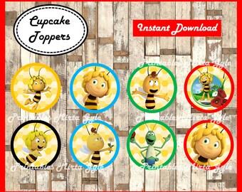 Maya The Bee cupcakes toppers, printable Maya The Bee party toppers, Maya The Bee cupcakes toppers