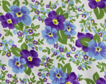vintage 1950s violets floral print polyester dress fabric length