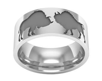 Buffalo Silver Band Ring, Animal Band Ring, Buffalo Ring, Buffalo Jewelry, Wedding Band Ring, American Ring, Silver Wedding Ring