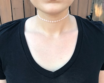 Pink Pearl Choker Necklace