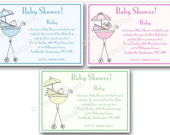 Printed Personalised Baby shower Invitations x10 with envelopes