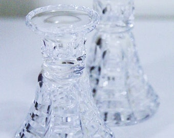 Pair of Two Vintage Crystal Candlesticks, Crystal Candleholders