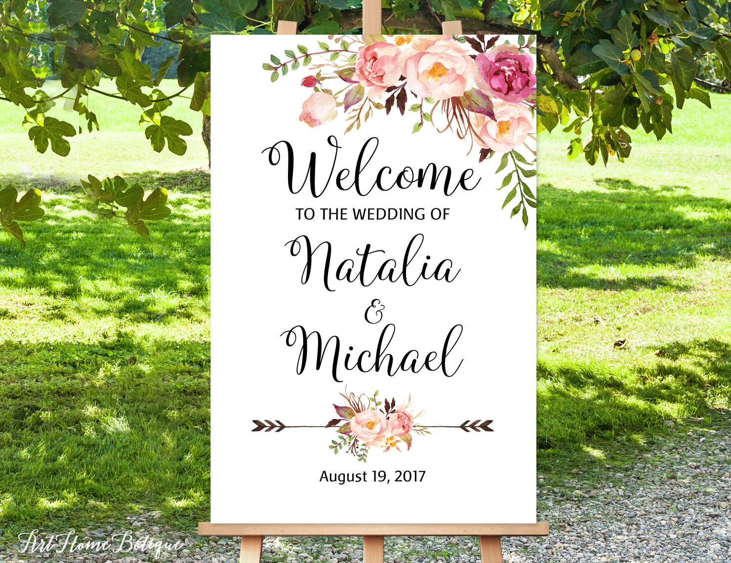 welcome to our wedding sign white welcome wedding sign large. Black Bedroom Furniture Sets. Home Design Ideas