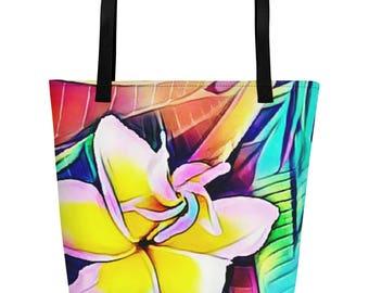 Hawaiian Frangipani Plumeria Tropical Flower Beach Bag