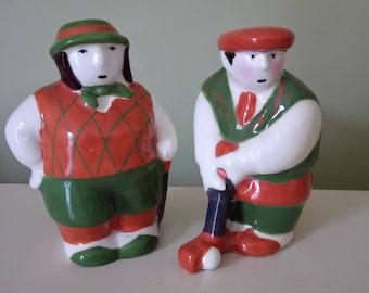 Salt Pepper Shakers Golf Players Vintage Porcelain Salt Pepper Shakers.