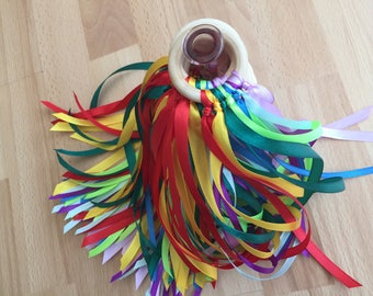 Montessori - Hand Kite - Rainbow Colours - Waldorf Toys - Wind Wand - Rhythm Ribbons - Play Therapy - Natural Wooden Ribbon - Sensory Ribbon