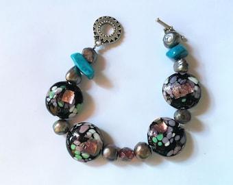 Turquoise and Black Mosaic Beaded Bracelet