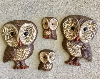 Vintage Owl Family Wall Hanging / Wall Decor - Set of 4 / Hard Foam - lightweight Owl Family