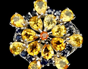 Natural Top Rich Yellow Citrine Sapphire 925 Sterling Silver Ring