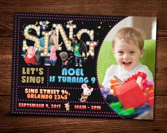 Sing Movie Invitation Card, Birthday Card, Invite Sing Template, Movie, For kids