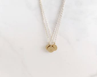 3/8 inch initial charm necklace -Gold Layering necklace- sterling silver charm necklace