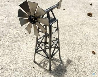 Metal windmill art