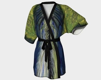 Peacock Kimono Robe, Abstract Kimono Robe, Modern Kimono Robe, Bridesmaid Robes, Asian Robes, Silky Knit Robes, Bridal Robes