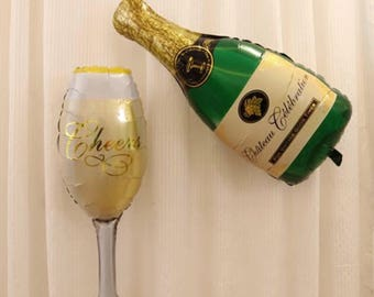 Champagne or toast glass balloon big party