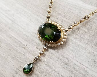 Green tourmaline and seed pearl necklace