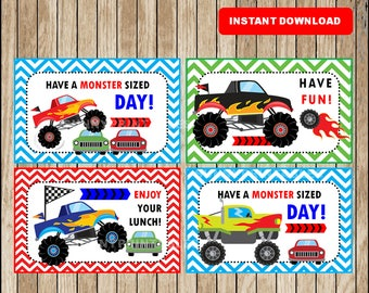 Printable Monster Truck Lunchbox Notes instant download, Monster Truck Lunch Box Notes, Printable School Notes