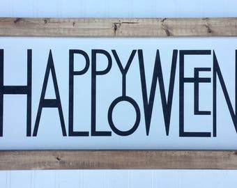 "Happy Halloween | 24""x12"" Wood Sign | Halloween Decor | Shelf Sitter | Wall Hanger | Rustic Decor"
