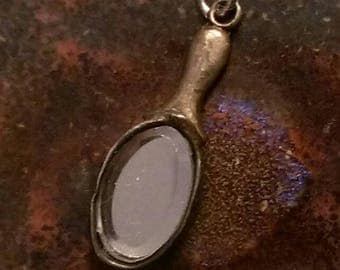 Rare Victorian era antique vintage sterling silver hand mirror charm or necklace pendant