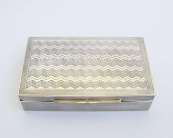 Silver Jewelry box, Art Deco 935 sterling silver+ desktop business card case, cigarette box, trinket box, chevron engine engraving