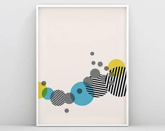 Geometry Art, Circle Print, Striped Circle Print, Geometric Minimal Print, Scandinavian Print, Abstract Wall Art, Scandinavian Decor, Circle