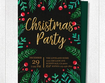 Christmas party invitation, Christmas invite, x-mas invitation, watercolor invite, x-mas watercolor, Holiday party invite, custom invitation