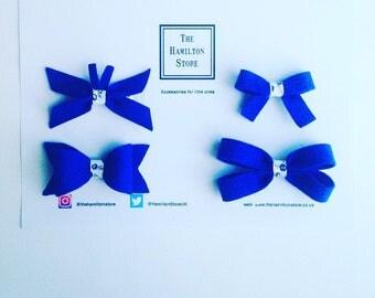 Hair bows set of 4 (BLUE)