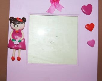 Wooden frame and polymer clay