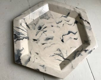 Extra Large Marbled Hexagon Ceramic Serving Platter