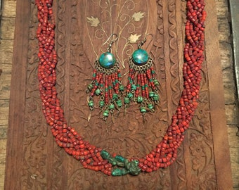 Vintage Red Coral & turquoise necklace from Tibet