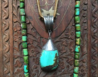 Vintage Turquoise and silver pendant from Tibet