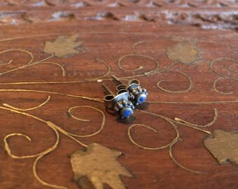 Vintage Sterling Silver and Lapis post earrings