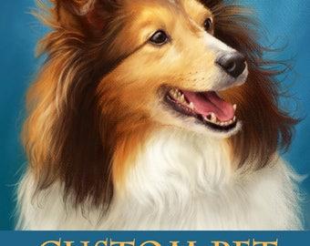 Pet Portrait. Custom Dog Portrait Painting. Dog Portrait.