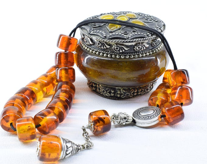 Cognac Amber color Komboloi, Worry Beads, Greek Komboloi, Relaxation, Tesbih, Gift for Men, Stress Relief, Prayer Beads, Anniversary Gift