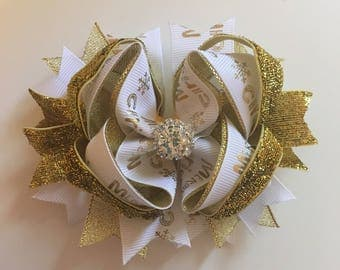 SALE Gold & White Christmas 5inch bow