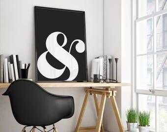 Ampersand symbol, Typography symbol, Ampersand poster, Ampersand print, Ampersand wall art, And symbol poster, Black and White, Minimal