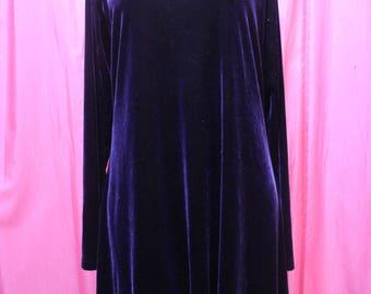 vintage dark purple MODA international velvet long sleeve mini dress