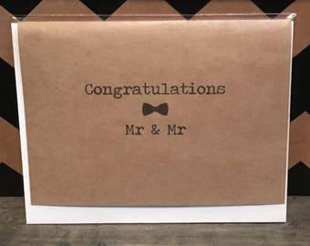 Congratulations Mr Mr Bow Tie Card // Gay Wedding // LGBTQ Wedding Card // Mr Mr Wedding // Two Grooms // Gay couple // Gay Engagement Card