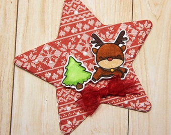Mini ornament Chrismtas card with reindeer (9)