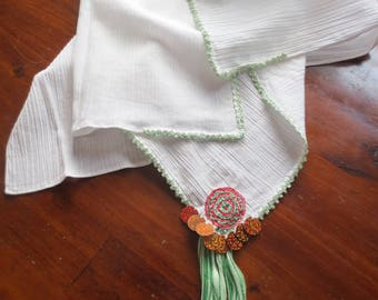 Green crochet square headkerchief (for traditional Greek costume)