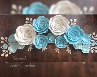 Teal & White Paper Flowers