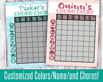 Chore chart for young kids weekly or daily cute chores to laminate and use over and over or print as a digital file pink teal blue purple
